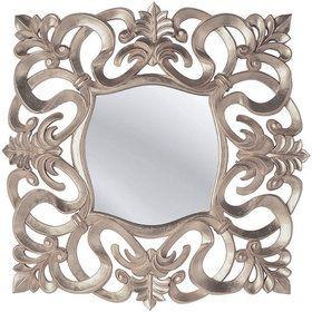 Espejo con marco de madera y pan de plata, de estilo barroco