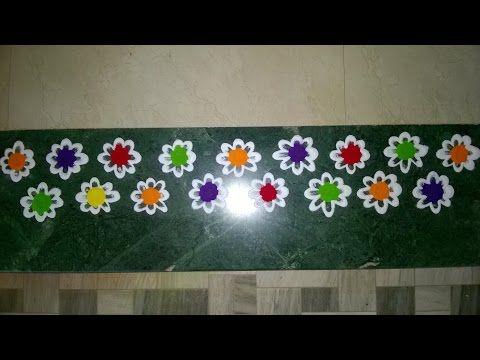 Door rangoli colorful border rangoli design youtube for Door rangoli design images