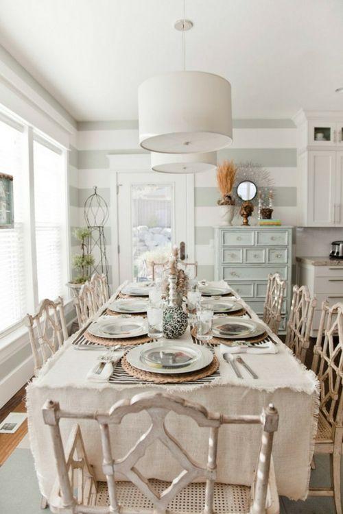vintage esszimmer möbel tischdecke weiß stühle holz naturgetreu - vintage esstisch ideen esszimmer mobel