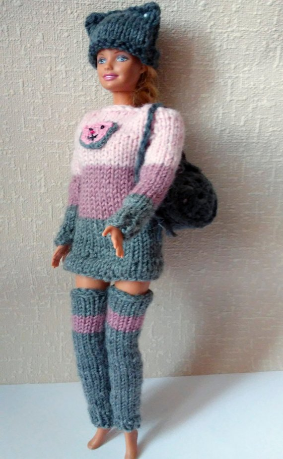 Clothes girl doll Barbie doll games Fashion Barbie Doll sweater 12 inch doll clothes Kitty hat Stockings for Barbie Gray and pink jacket #crochetedbarbiedollclothes Clothes girl doll Barbie doll games Fashion Barbie Doll sweater 12 inch doll clothes Kitty hat Stock #crochetedbarbiedollclothes