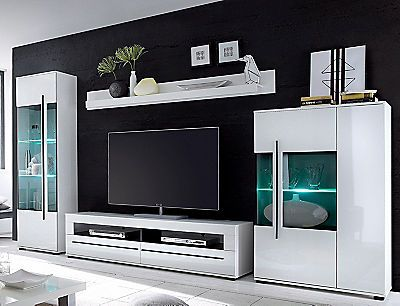 Wohnwand Set 4 Tlg Auf Rechnung Bestellen Wohnen Wohnwand Weiss Und Mobel Wohnzimmer