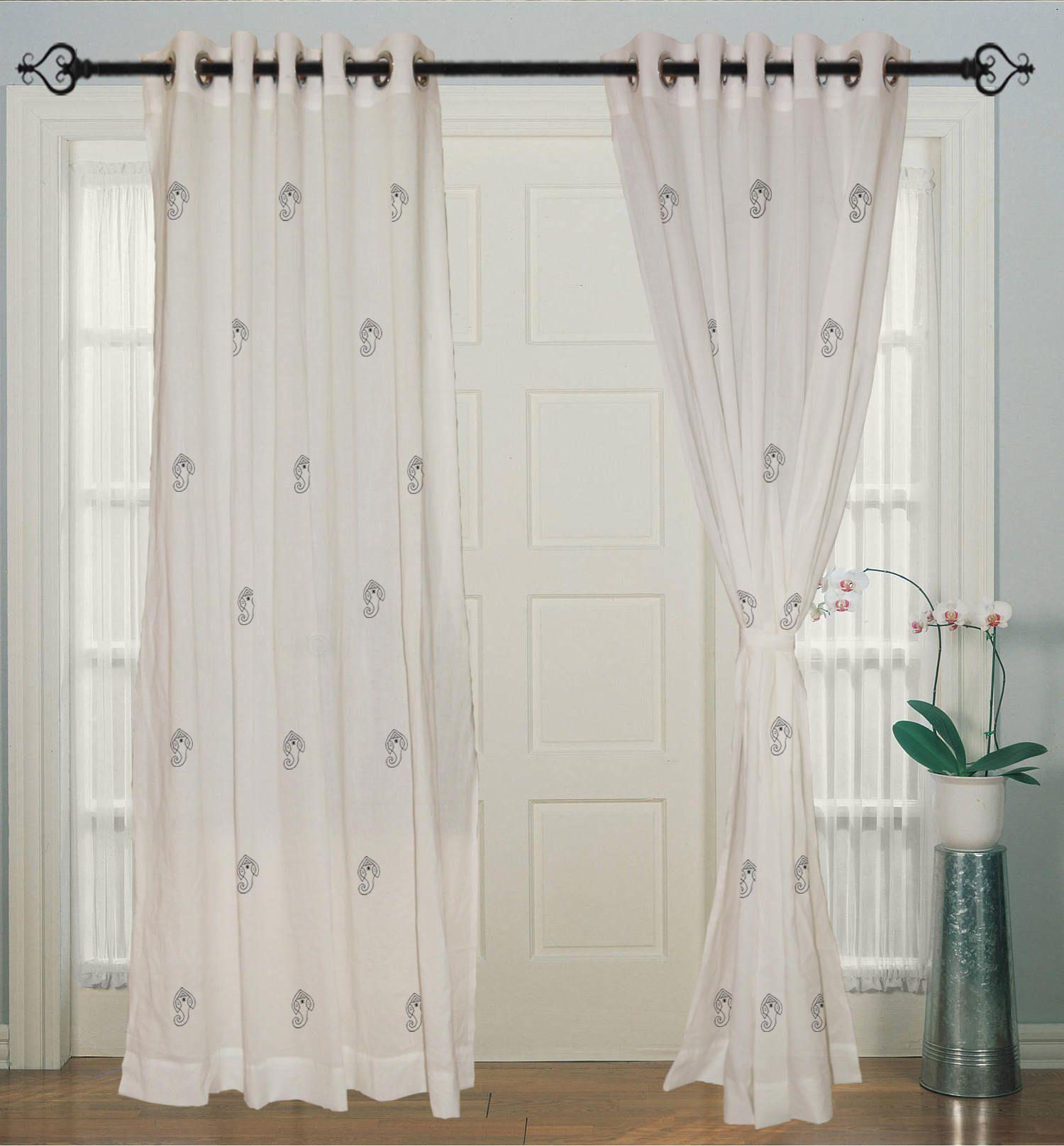 Curtains Cotton White Hand Block Printed Eyelet Ganesha Curtain