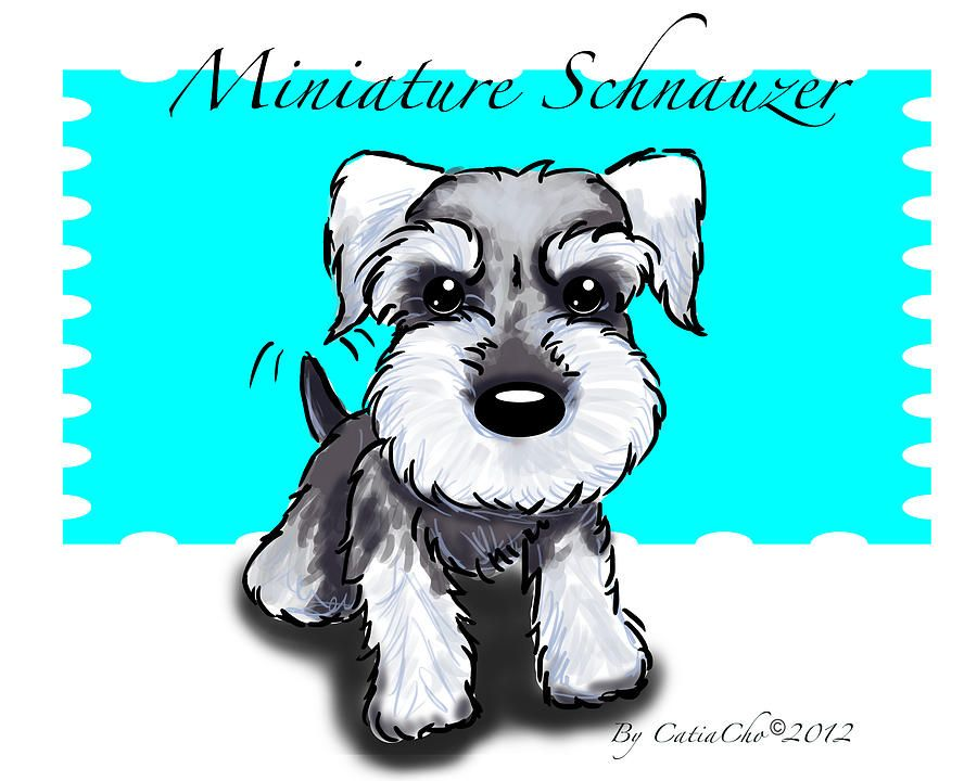 Schnauzer Drawing Easy: Mini Schnauzers--love That Tail Wag!