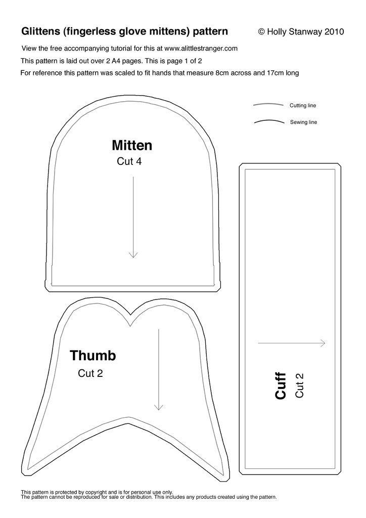 How to Make Glittens (fingerless Glove-mittens) | Trabajos en tela ...