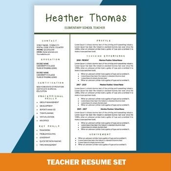Teacher Resume Template, Educator Resume, Free CV Word Tem - Cv - free teacher resume