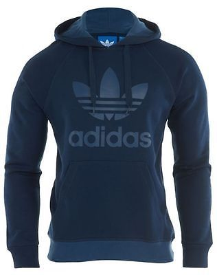 Adidas Trefoil Hoodie Mens AB7593 Navy Blue Pullover Hoody Sweatshirt Size L