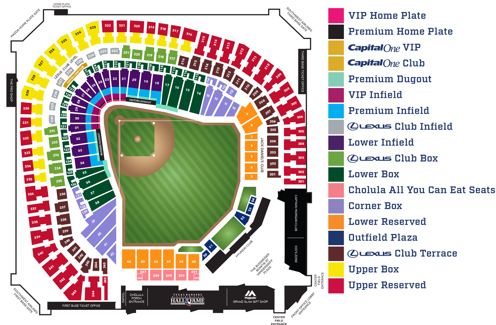 Maps globe life park seating map blog with collection of maps