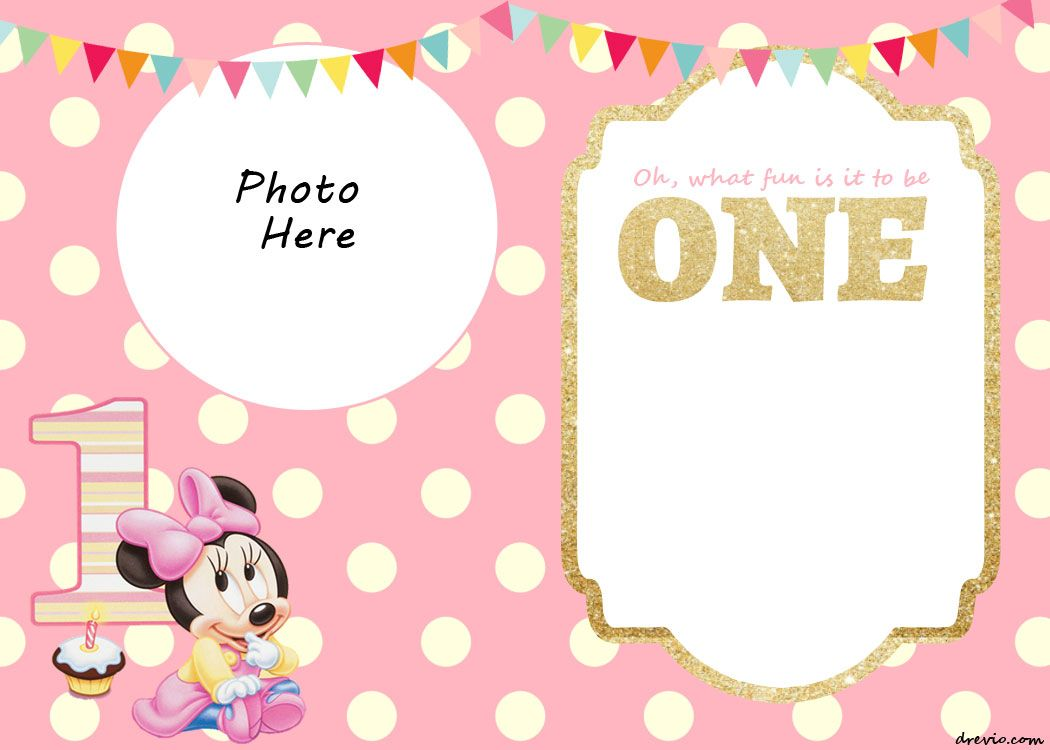 Download FREE Printable Minnie Mouse 1st Invitation Templates