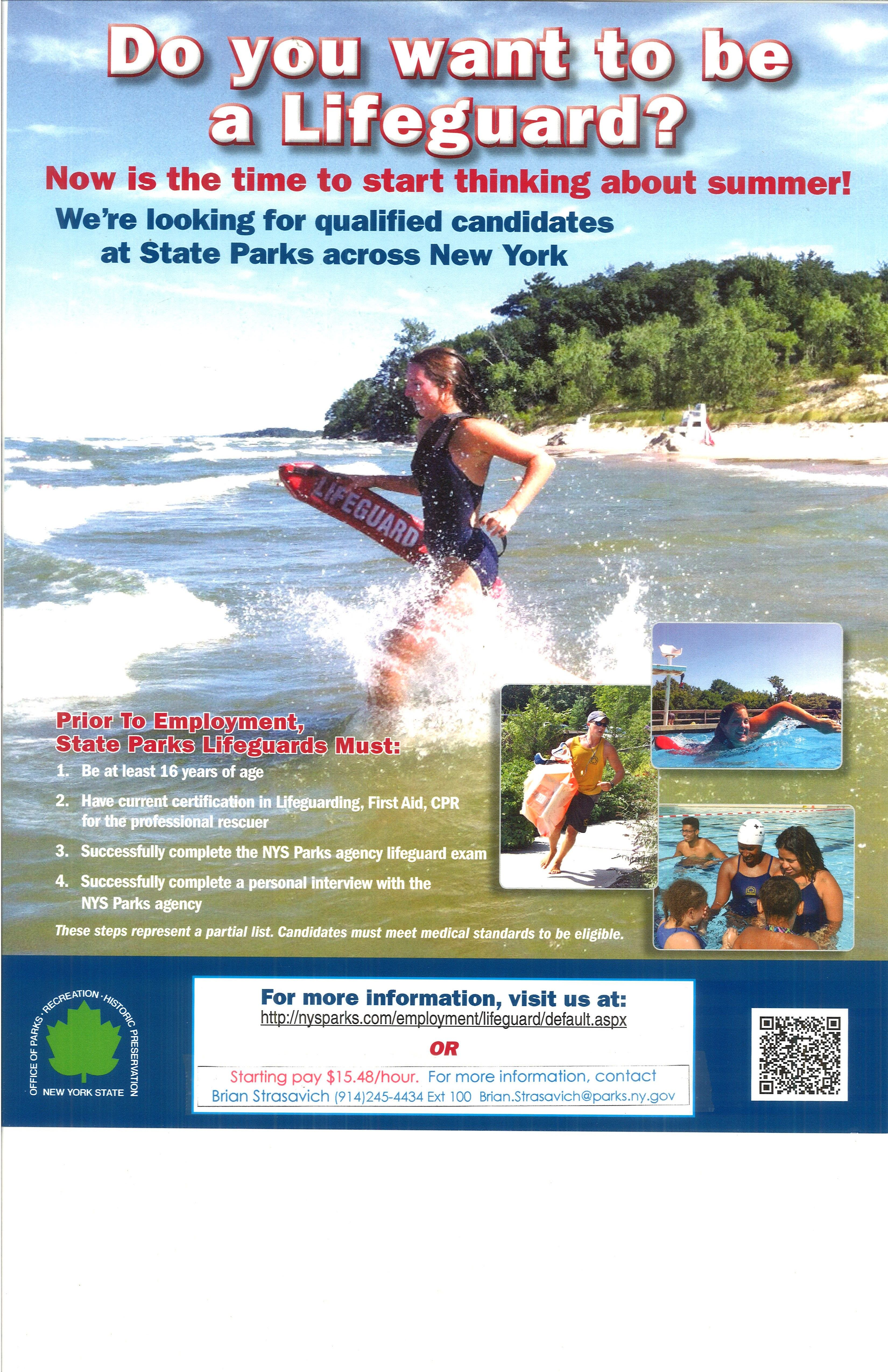 64225f21bfd Summer Employment  Lifeguard at FDR State Park NY Starting  15.48 hr Do you  want