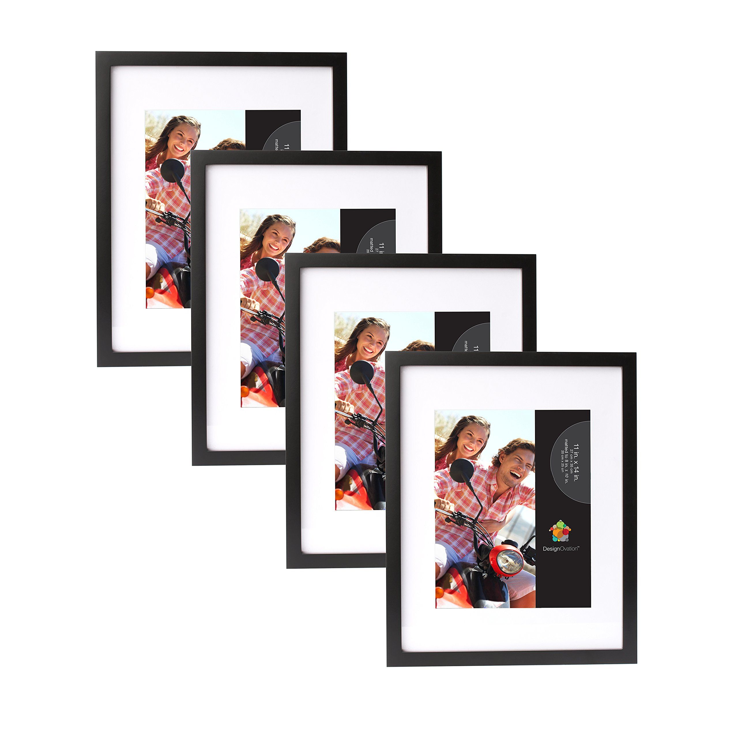 Gallery 11x14 matted to 8x10 Black Wood Picture Frame, Set of 4 ...