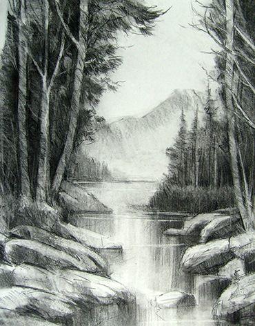 paisaje al carboncillo is part of Pencil drawings - Hace muchisimo tiempo que deseaba retomar el dibujo y la pureza del carboncillo  Hace algunos dias coloque el caballete y empece a dibujar