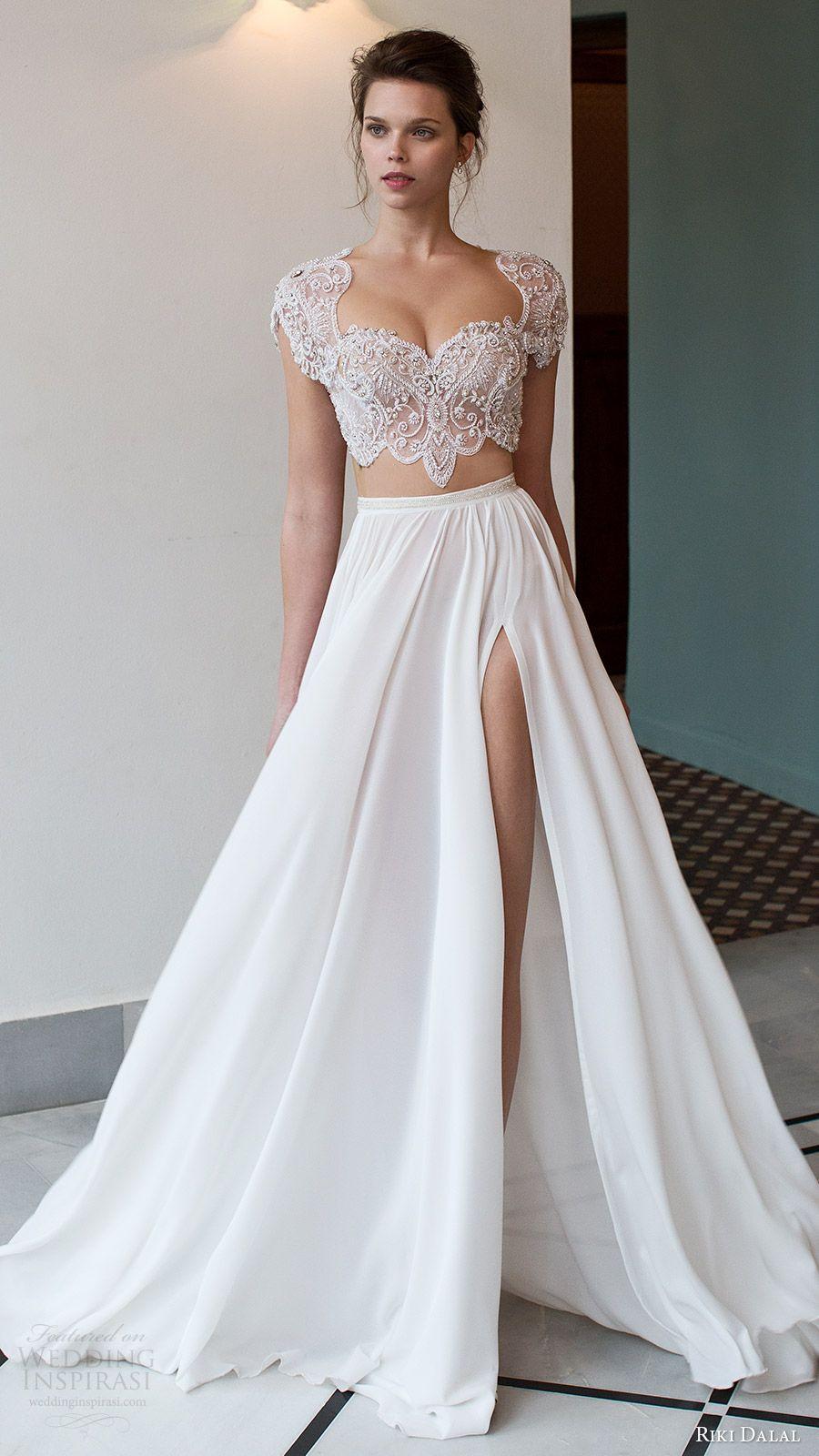 riki dalal bridal 2016 cap sleeves illusion crop top heavily embellished  bodice a line wedding dress (1811) mv slit skirt mv edgy romantic e340186c6651
