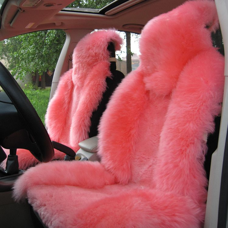 Winter Pink Australian Wool Fur Car Seat Cushion Made By One Piece Fur2 Frent 1back Long Cover