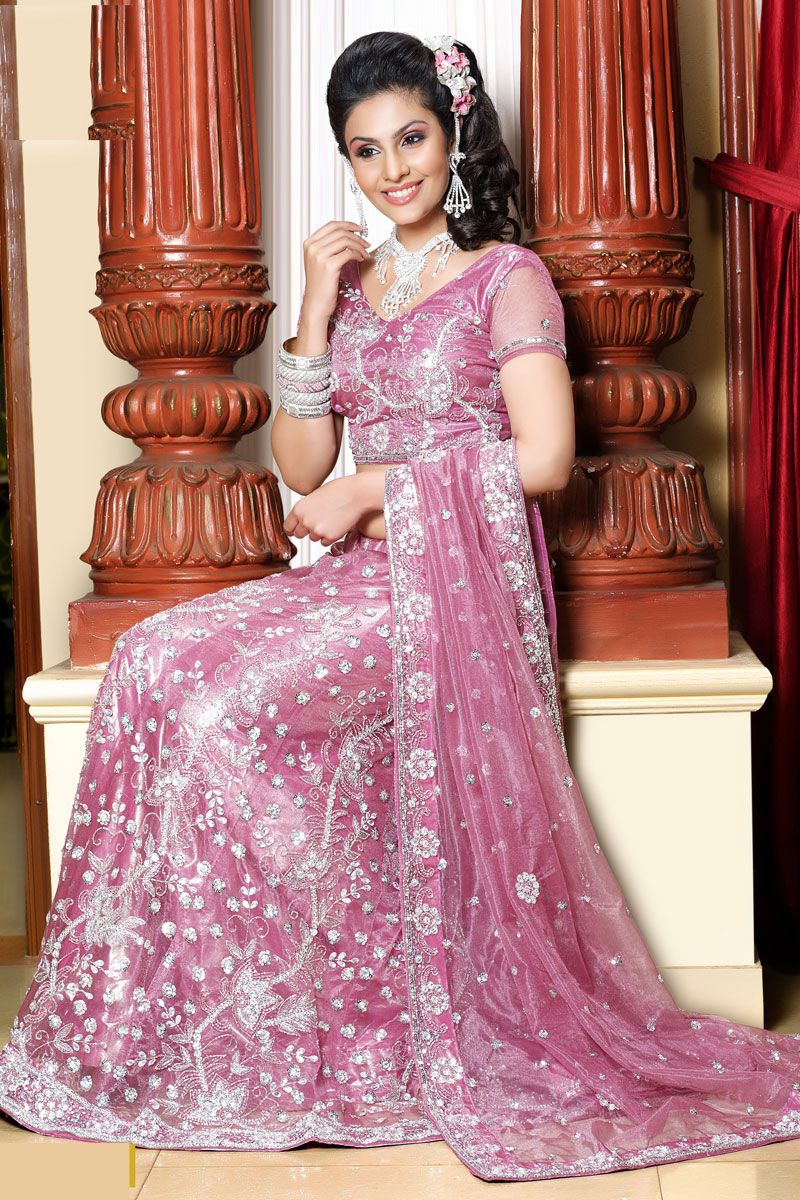 Ornate Pink Lehenga Choli With Heavy Crystal Beading And A Cropped Top Sheer Indian Wedding Clothesindian