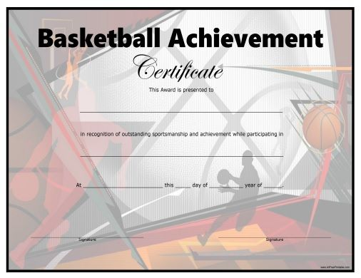 Free Printable Basketball Certificate All Free Printable - sports certificate in pdf