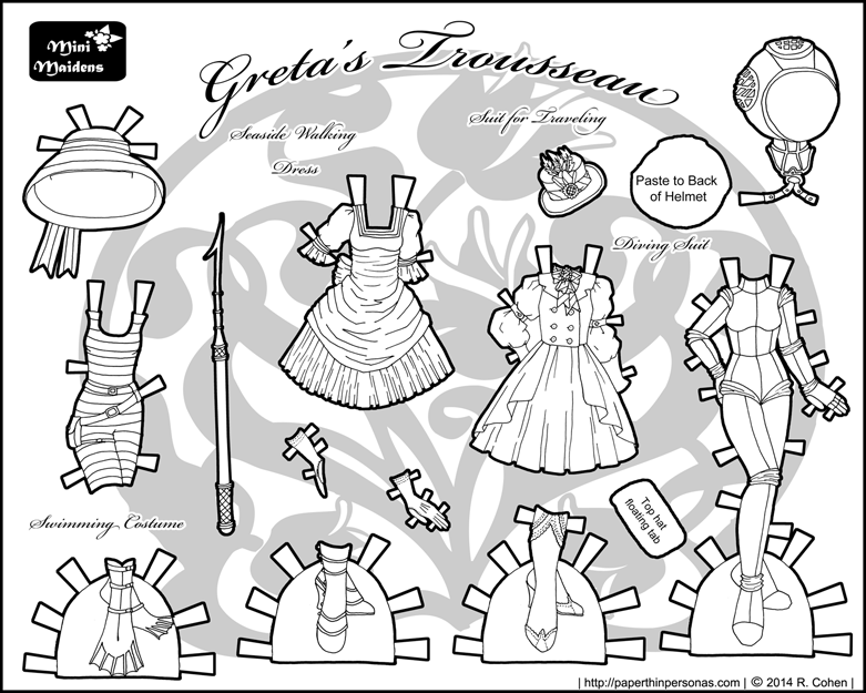 greta s trousseau traveling to the seaside dolls and paper dolls Wedding Dresses 2014 ste unk seaside visit paper doll clothes for the mini maidens