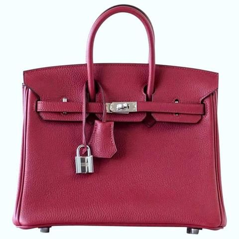 fd37e6eef5 Guaranteed authentic exquisite HERMES BIRKIN 25 Rouge Grenat is a lush  exotic jewel on your.