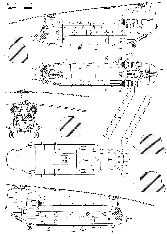 Helicopter Blueprint Boeing Vertol Ch 47 Hc 2 Chinook Ch