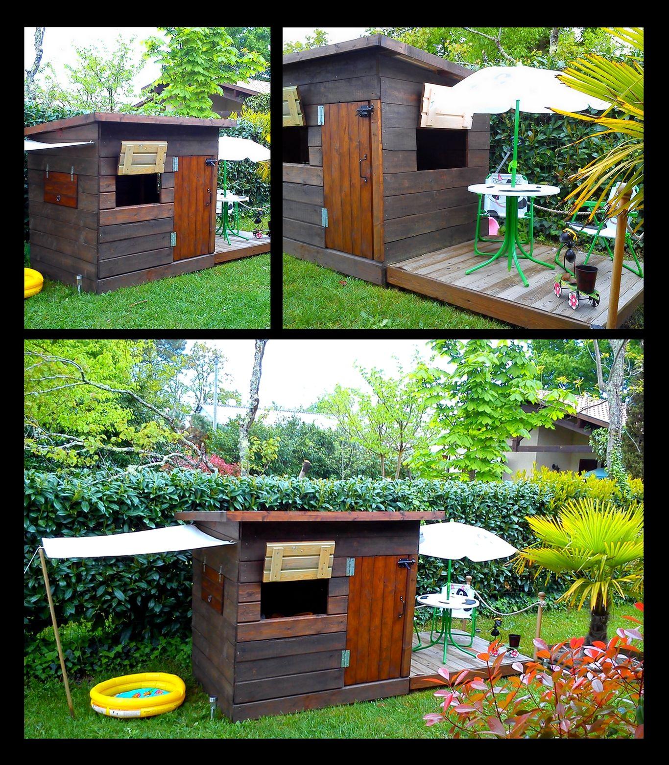 Cabane pour enfants bois de r cup ration palettes europ ennes meubles palettes cabane - Meuble de jardin en bois ...