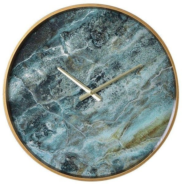 Amadeus Blue Marble Effect Wall Clock 67 Liked On Polyvore Featuring Home Home Decor Clocks Marble Clock Blue Cloc Marble Clock Wall Clock Marble Wall