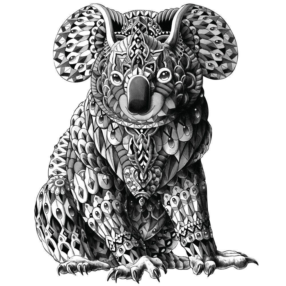 Koala Wall Sticker Decal Ornate Animal Art By Bioworkz Koala Tattoo Animals Artwork Zentangle Animals