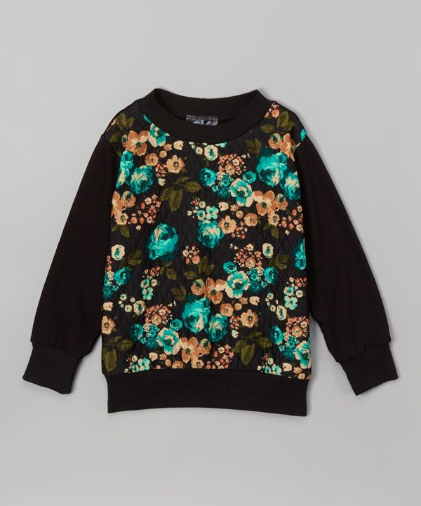 Look at this Black Floral Sweater - Infant, Toddler & Girls on #zulily today!