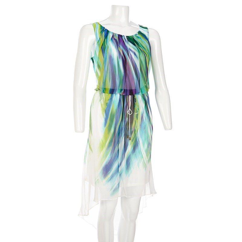 Watercolor Print Hi-Lo Dress - Plus