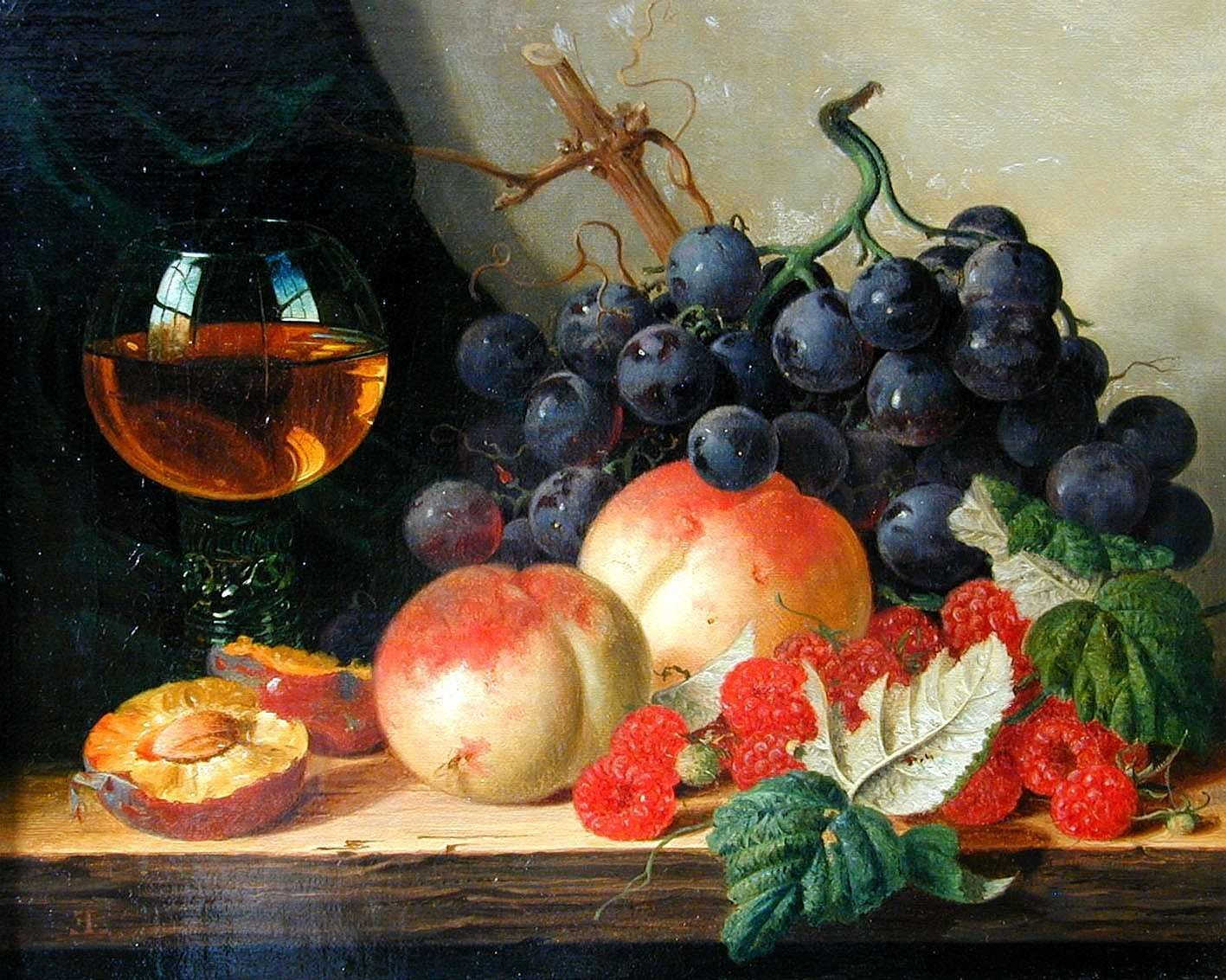 Edward ladell british 1821 1886 a still life of black grapes peaches raspberries a wine glass on a wooden ledge