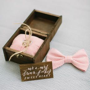 Pink bow ties for the groomsmen