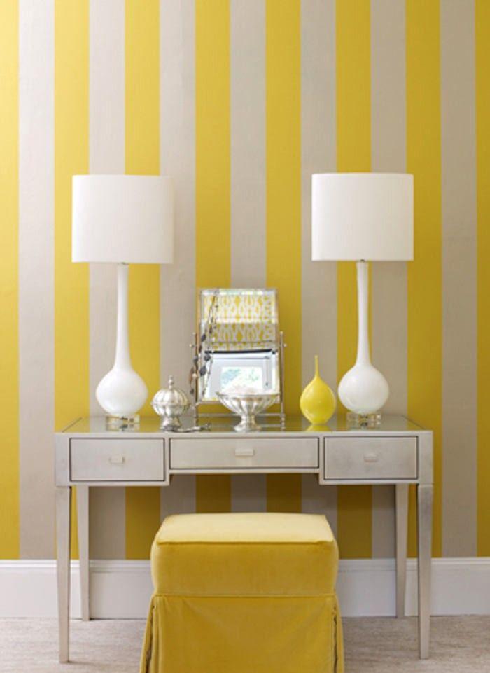 papel pintado rayas amarillas