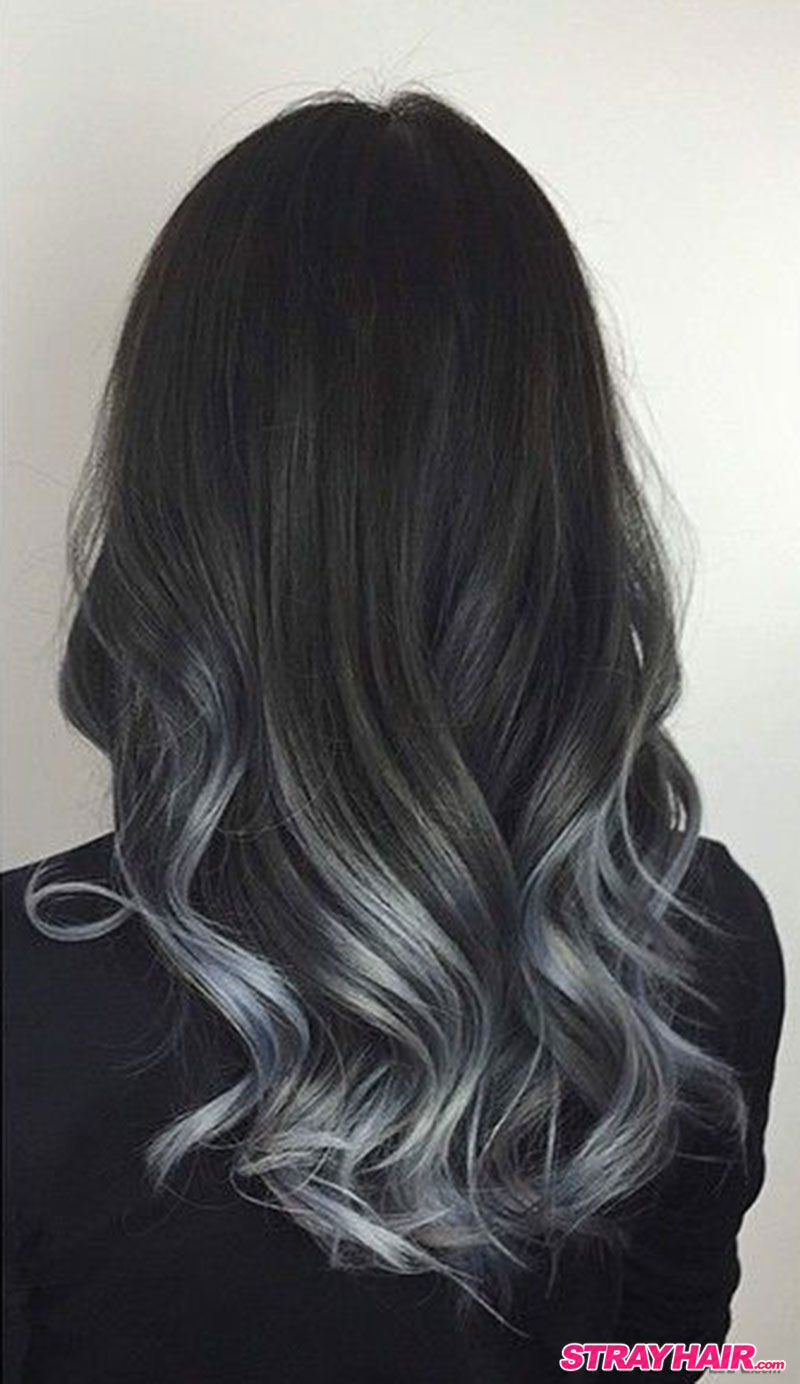 Black hair with blonde ends - Charcoal To Silver Balayage Hair