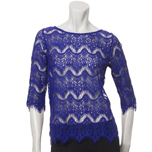 3/4 Sleeve Boat Neck Lace Front Top on sale now for only $20! http://www.augustsilk.com/presidents-day-s-80.html
