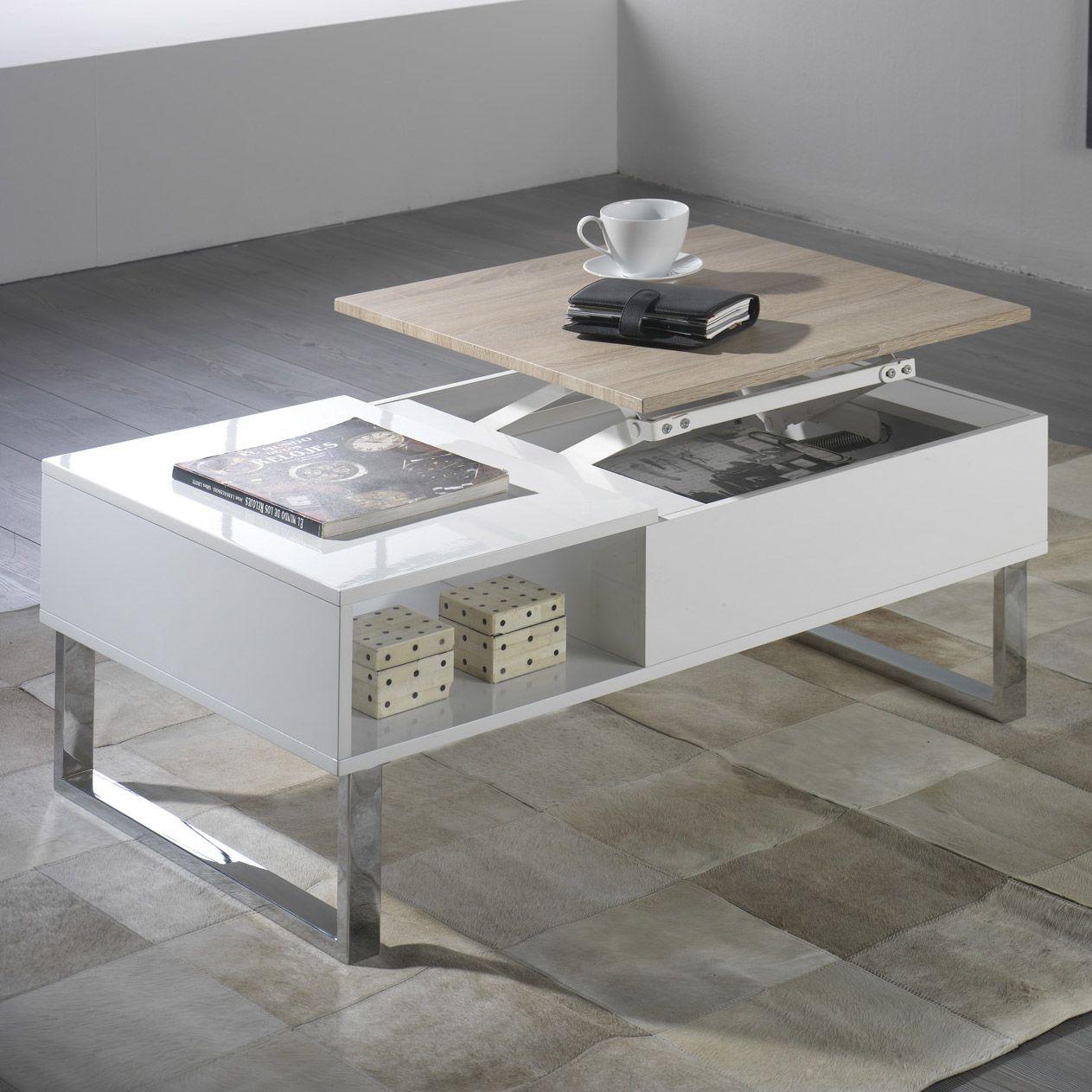table basse rectangulaire en bois avec plateau relevable l100cm battle couchtisch pinterest. Black Bedroom Furniture Sets. Home Design Ideas