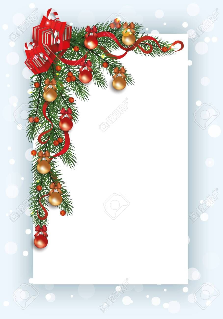 Christmas Card Template With Pine Tree Branch Corner Border Decorated With Red Berries Ribbo Christmas Templates Free Christmas Card Template Christmas Border
