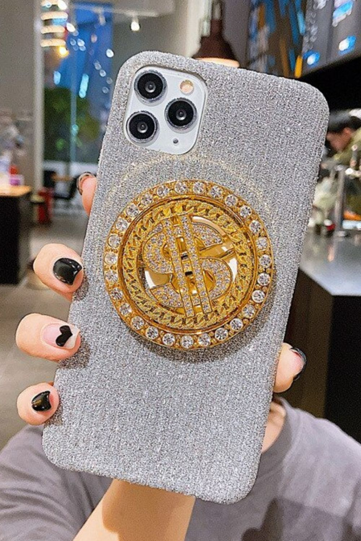 Bling glitter phone case rotating dollar gold black velvet