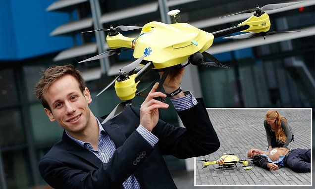 The ambulance drone that could save your life: Operators can watch, talk and instruct those helping the victim by using an on-board camera.