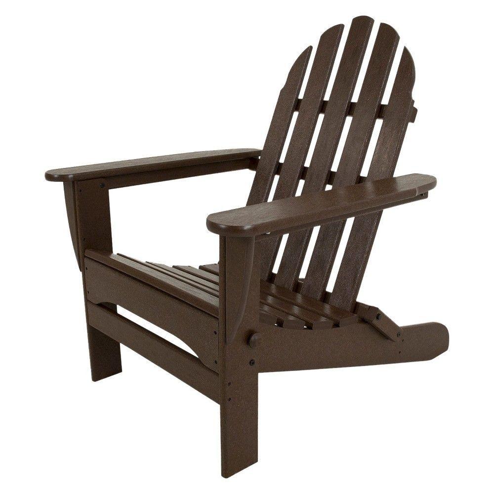 Classic folding patio adirondack chair dark brown polywood dk