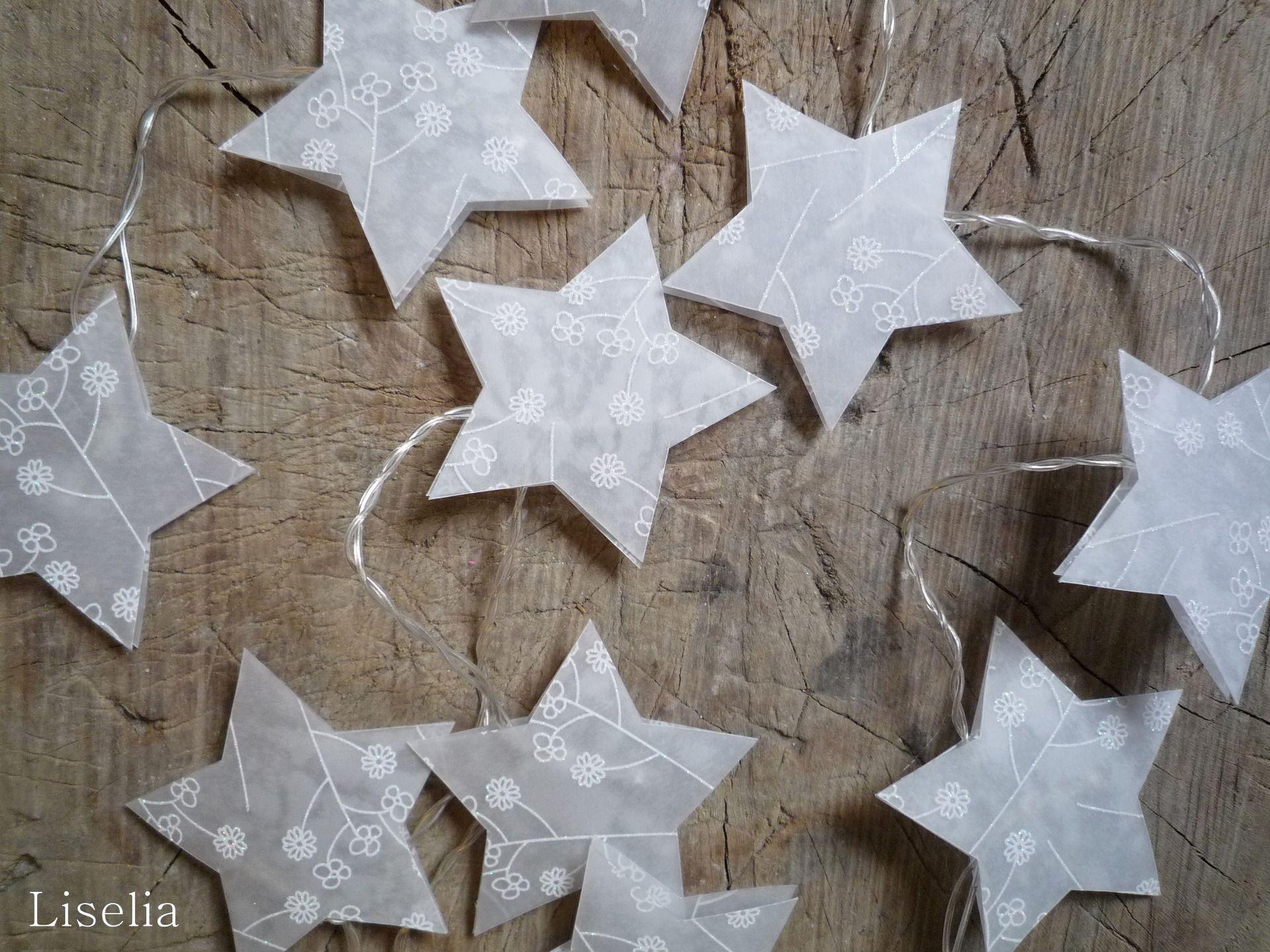 Guirlande lumineuse 10 étoiles en papier calque  motifs pailletés