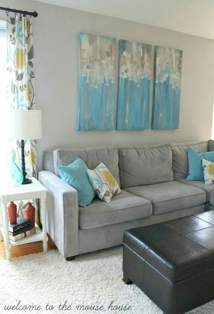 Gray Blue Yellow Living Room Turquoise Living Room Grey Grey Couch Living Room