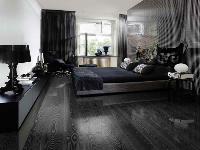 black hardwood flooring in bedroom