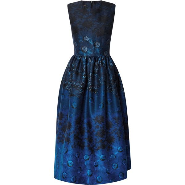 Mother of Pearl Alana Printed Silk and Wool-Blend Midi Dress (£395) ❤ liked on Polyvore featuring dresses, blue floral, cocktail dresses, holiday dresses, floral cocktail dress, floral fit and flare dress and evening dresses