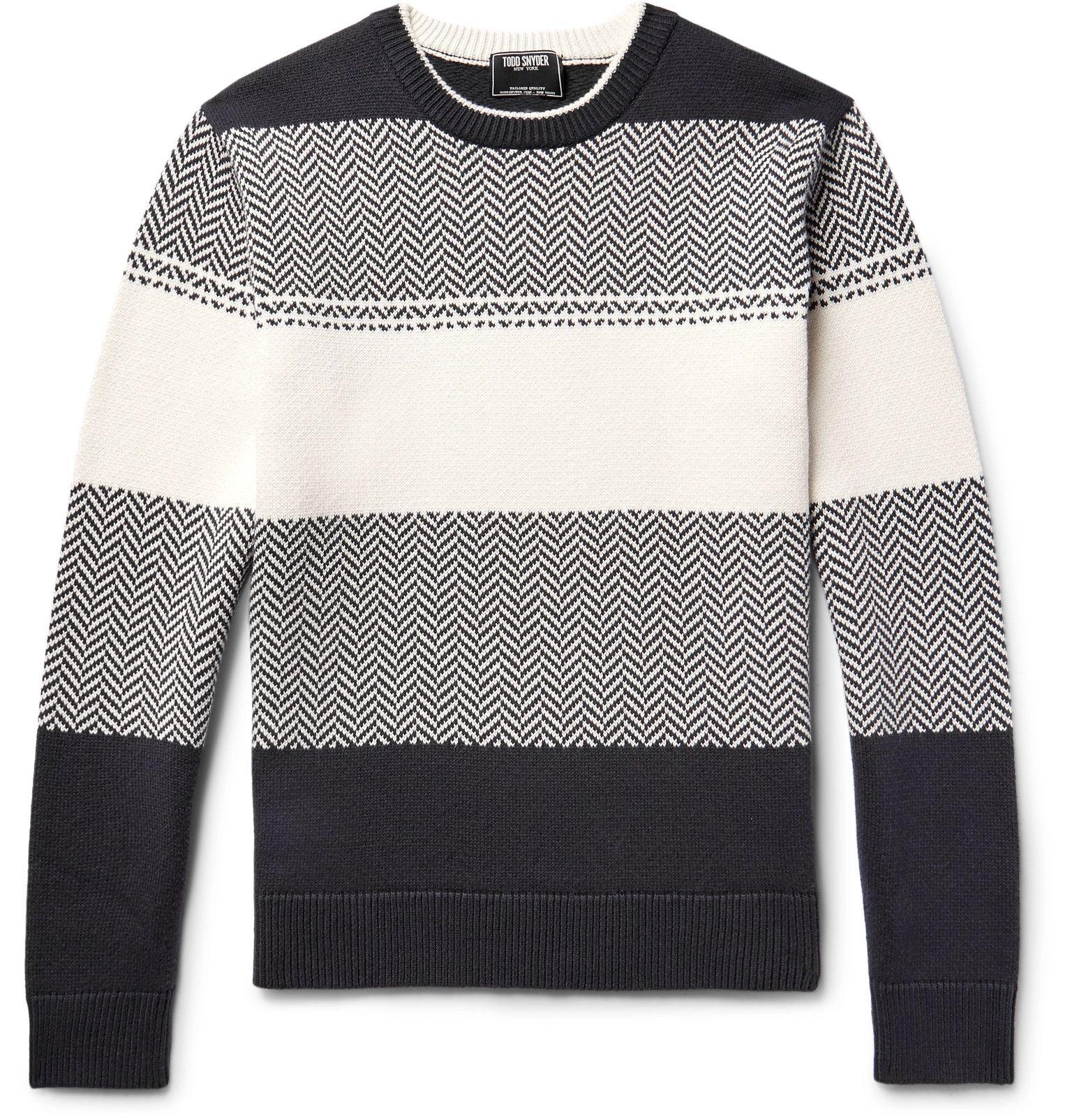TODD SNYDER Herringbone Striped Cotton Sweater | stylin ...