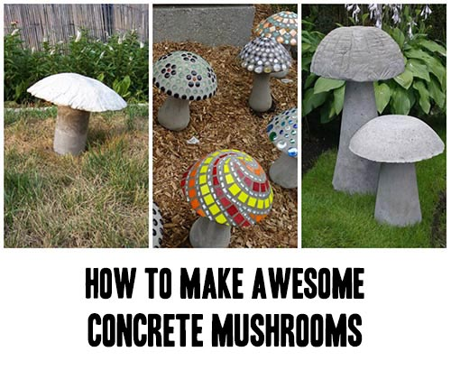 How To Make Awesome Concrete Mushrooms Home Garden Diy Awesome Concrete Diy Garden Ho In 2020 Concrete Garden Statues Concrete Garden Stuffed Mushrooms