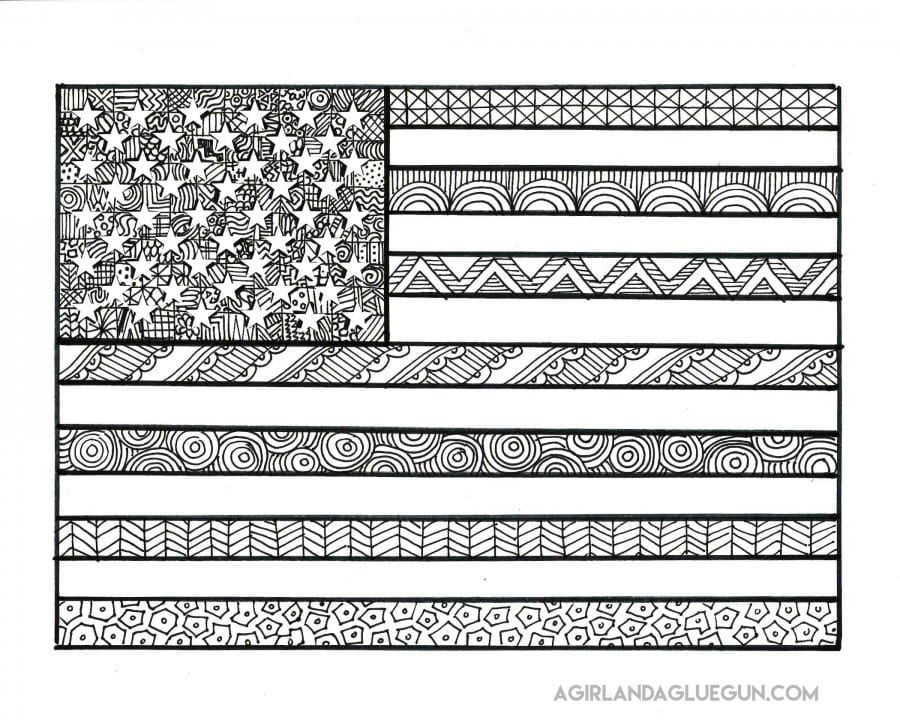 Easy 4th Of July American Flag Color By Letter Coloring Page For