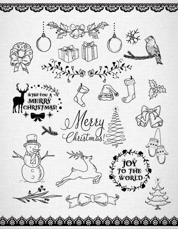 Photo of Chalkboard Christmas Doodles Clip Art Christmas Clipart. Christmas frame, Christmas deer. 300 dpi. Eps, png files. Instant download.