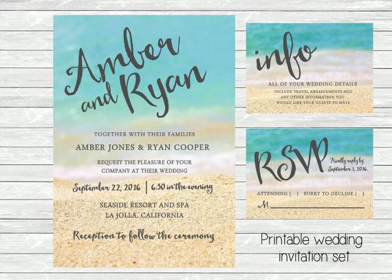 Beach Wedding Invitation Ocean And Sand In The Background Printable File Jpg Or In 2020 Beach Wedding Invitations Wedding Invitation Background Beach Theme Wedding
