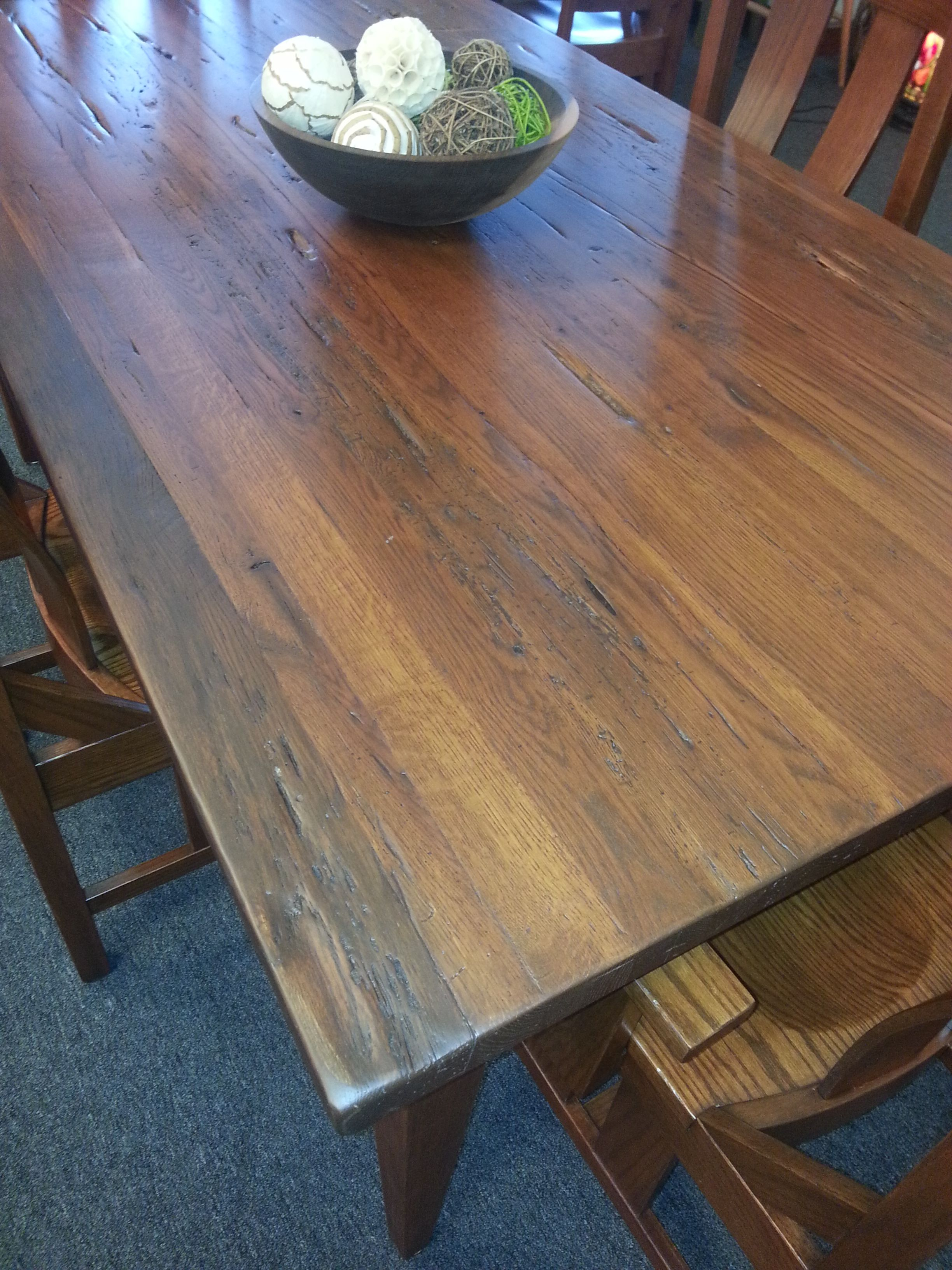 Like Reclaimed Lumber Come See Our New Oak Table Millers Furniture Plain City Ohio