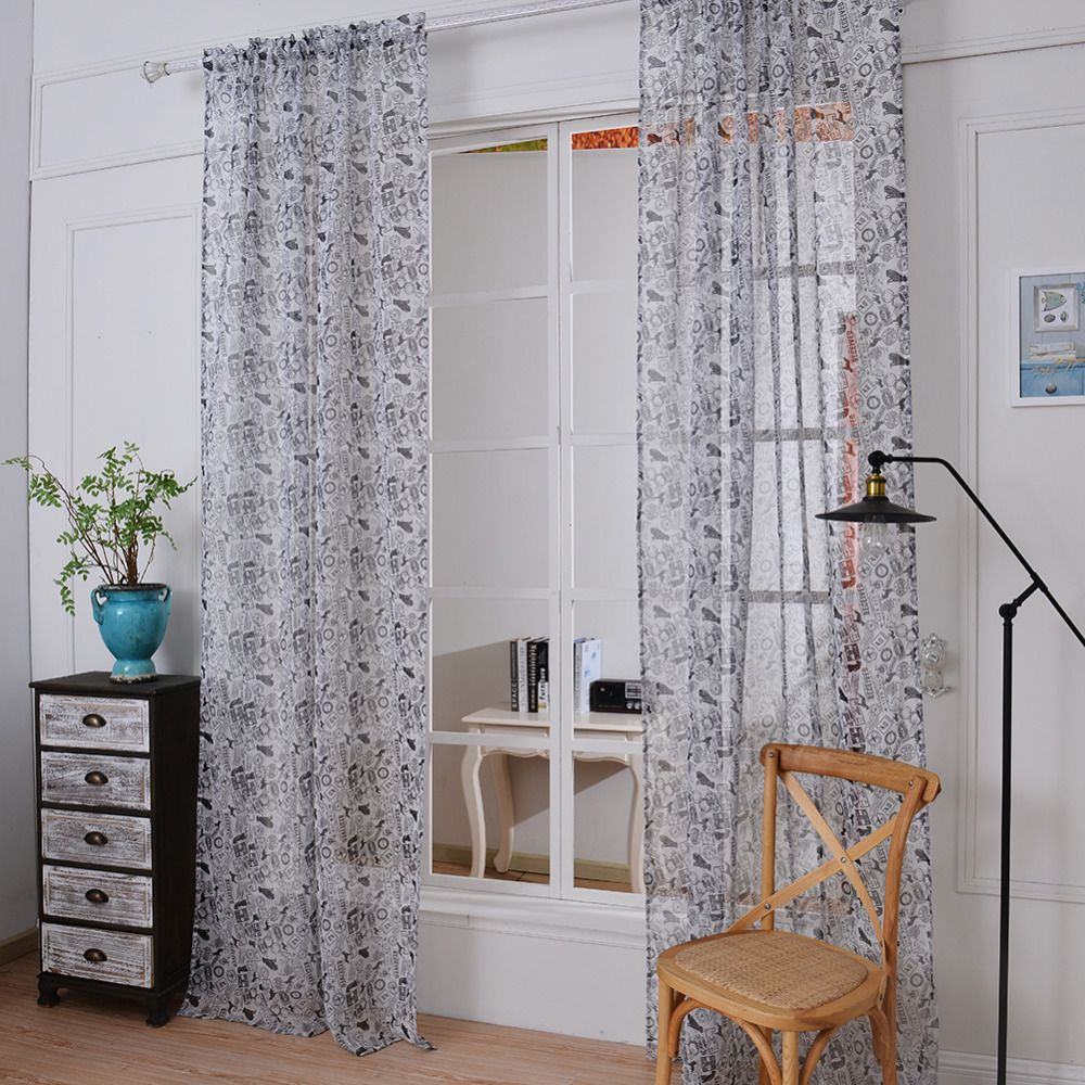 Kitchen window curtain  New European Style  pcs    cm Window Curtains Sheer Voile