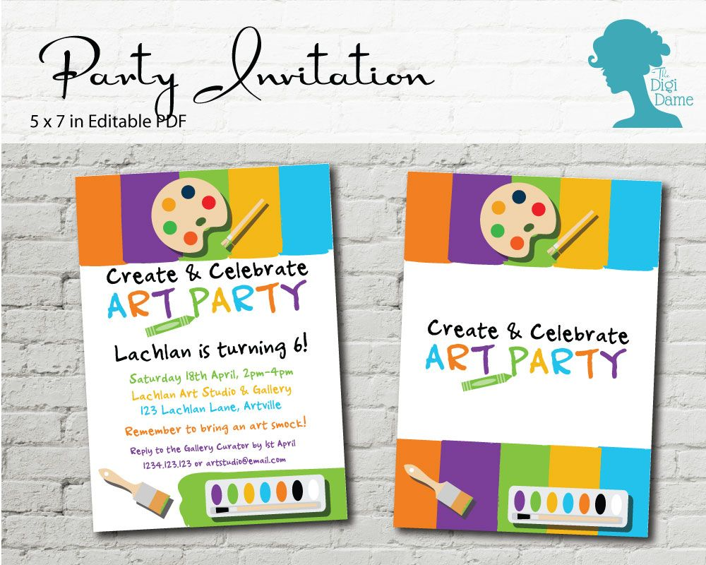 Art Party Invitation $10AUD by The Digi Dame Printable Party Decor. Visit thedigidame.com to purchase!