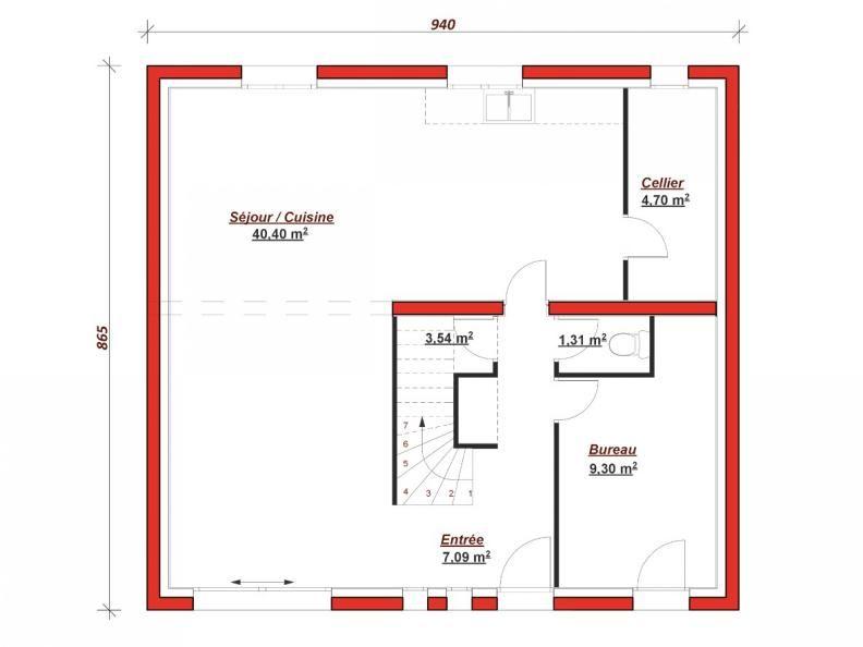 Plan RDC Concorde 130 La Concorde 130 vous offre au rez-de-chaussée - cuisine ouverte sur salon m